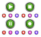 Set of isolated glossy vector web buttons. Beautiful internet buttons isolated on white background. Play, pause, start, record.