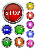 isolated vector, glossy web button. Beautiful internet button.Empty on white background. With sign stop, free, sign up, dollar, download, start, pause, on, off, music