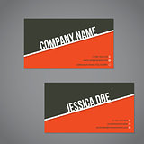 Gray-green  and orange color business card with white stripe