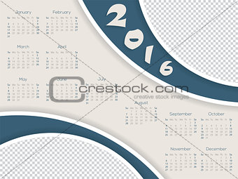 Calendar template with photo container for 2016