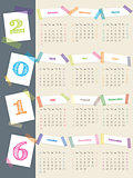 Cool calendar with color tapes for 2016