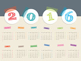 Awesome calendar with color tapes for 2016