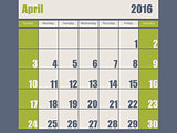 Blue green colored 2016 april calendar
