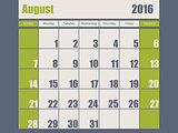 Blue green colored 2016 august calendar