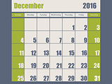 Blue green colored 2016 december calendar