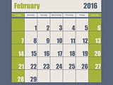 Blue green colored 2016 february calendar