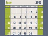 Blue green colored 2016 june calendar