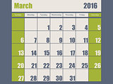 Blue green colored 2016 march calendar