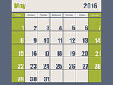 Blue green colored 2016 january calendar