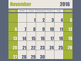Blue green colored 2016 november calendar