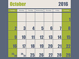 Blue green colored 2016 october calendar