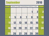 Blue green colored 2016 september calendar
