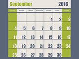 Blue green colored 2016 september calendar