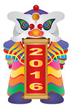 Chinese New Year Lion Dance with 2016 Scroll Illustration