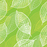 Seamless ornamental pattern with leaves