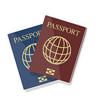 Vector illustration of blue and red biometric passports with glo