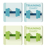 Vector dumbbells and Training diary text