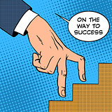 Up the ladder of success business concept businessman fingers