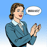 woman applause bravo concept of success