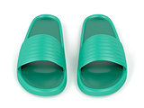 Front view of green slippers