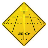 American Football Field Road Sign Illustration