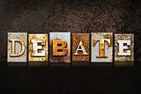 Debate Letterpress Concept on Dark Background