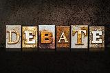 Debate Letterpress Concept on Dark Background