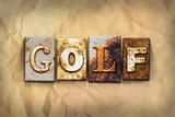 Golf Concept Rusted Metal Type
