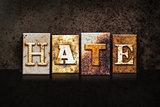 Hate Letterpress Concept on Dark Background