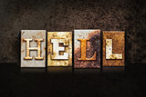 Hell Letterpress Concept on Dark Background