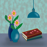 Vases with Flowers, Lamp and Books.