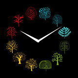 Seasons concept, trees on watches, sketch for your design