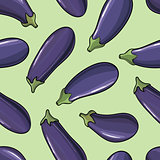 seamless background with scattered ripe eggplant