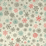 Winter Snow Flakes Seamless Background on Crumpled Paper