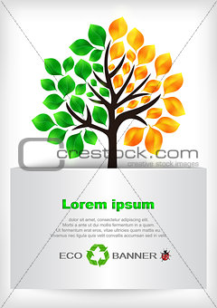 Abstract tree with banner