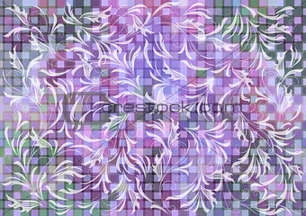 Floral ornament on mosaic background