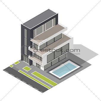 Modern residential building isometric icon set