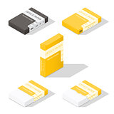 Paper for copier isometric icon set