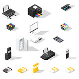 Office detailed  isometric icon set