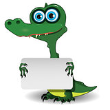 Crocodile and white background