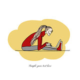 Yoga at work, girl with laptop for your design