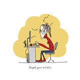 Programmer woman at work, sketch for your design