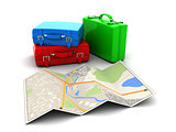 map and luggage