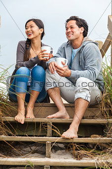 Asian Man Woman Couple Drinking Coffee Beach Steps