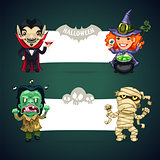 Set of Vector Halloween Banners whith Monsters