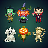 Set of Vector Cartoon Halloween Characters