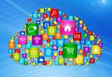 Cloud Computing symbol on high tech background