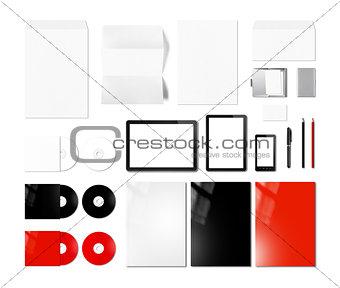 Branding identity design mockup template, white background
