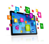 Tablet PC and flying apps icons