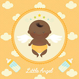 Cute Angel African Baby with Milk Bottle